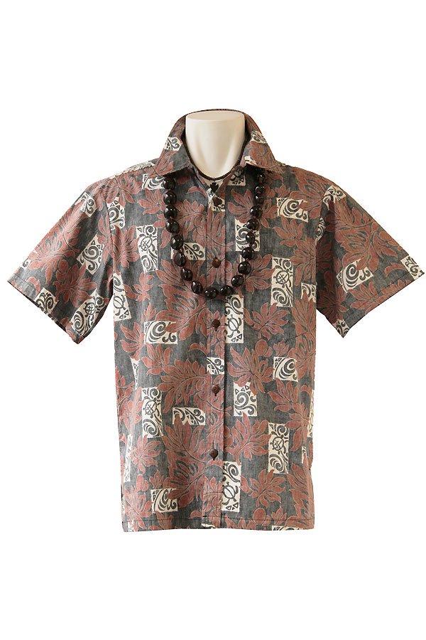 メンズアロハシャツ(リーフホヌ・ブラックブラウン)
