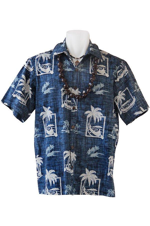 メンズアロハシャツ(パームツリー・ブルー)