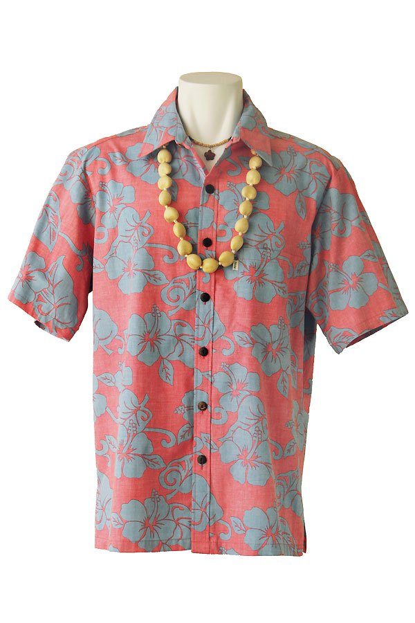 メンズアロハシャツ(ハイビスカス・ピーチ)