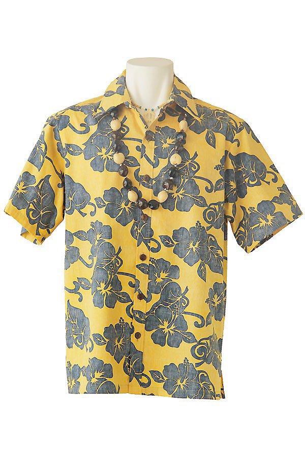 メンズアロハシャツ(ハイビスカス・マンゴー)