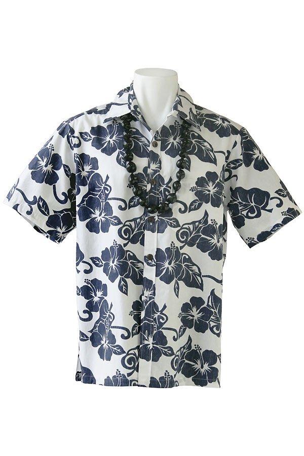 メンズアロハシャツ(ハイビスカス・ホワイト)