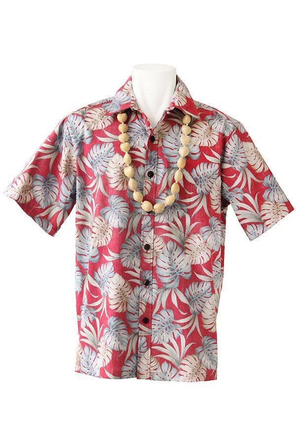 メンズアロハシャツ(モンステラ・トマト)