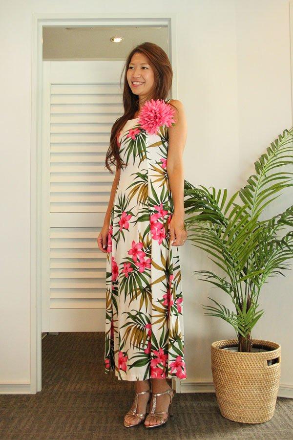 アロハ・レーヨンイブニングドレス(プルメリア・ホワイトピンク)
