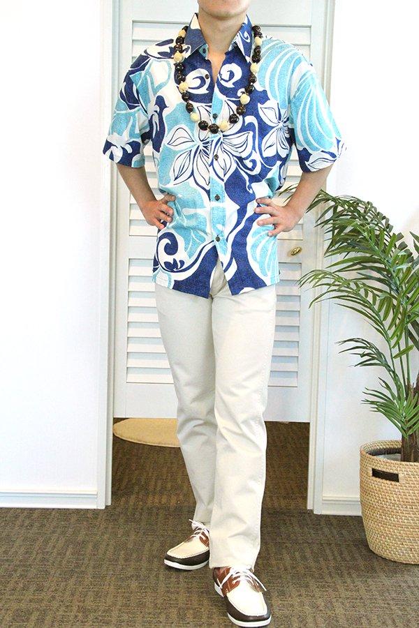 Ocean's & It メンズアロハシャツコットン(カイナル・ブルー)