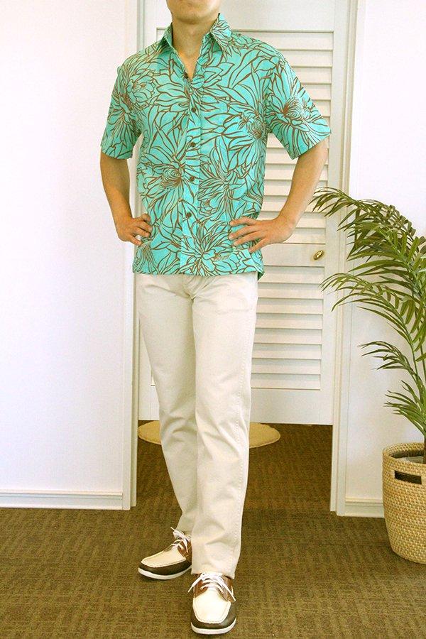 Ocean's & It メンズアロハシャツ(ナイトブルーミング・ミント)
