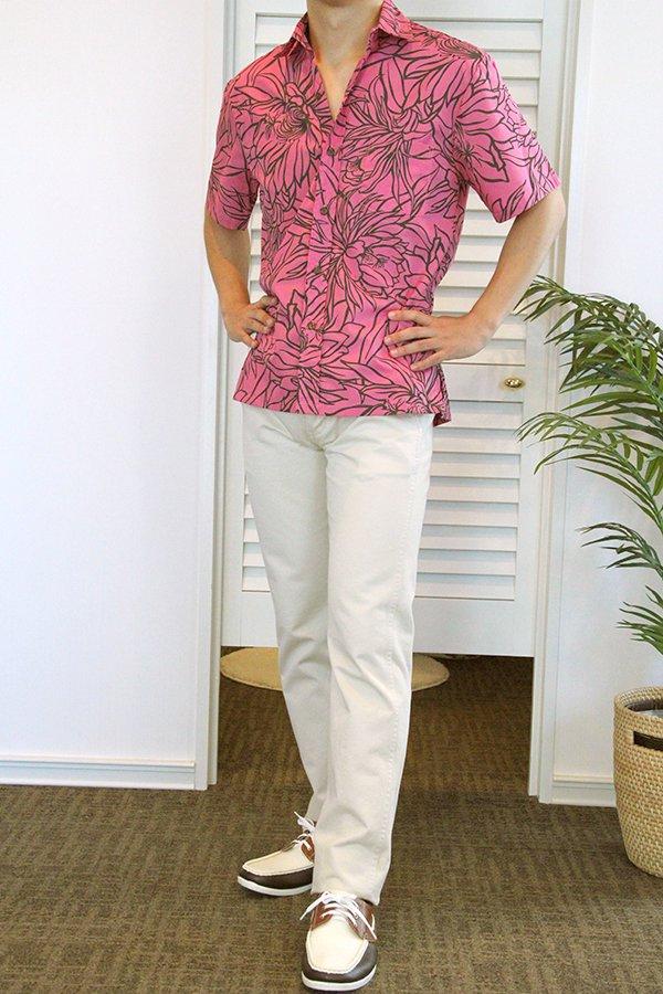 Ocean's & It メンズアロハシャツ(ナイトブルーミング・ローズ)