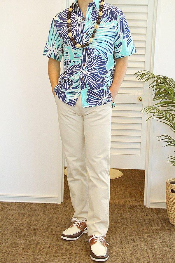 Ocean's & It メンズアロハシャツ(ハイビスカス・アクア)