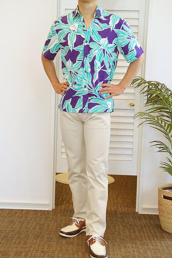 Ocean's & It メンズアロハシャツ(キー・ミント)