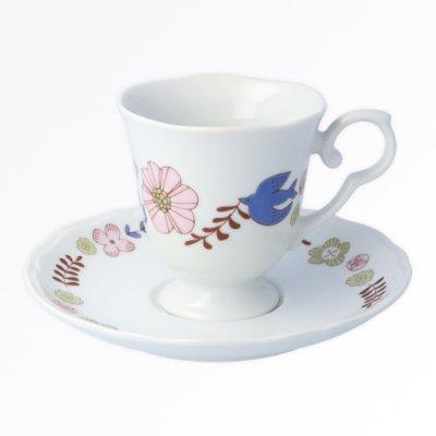 花と鳥カップ&ソーサー[ピンク]
