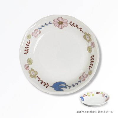 花と鳥ボウル[ピンク]