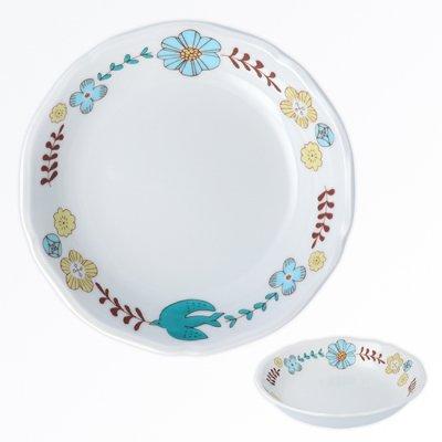 花と鳥ボウル[青]