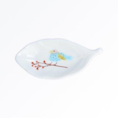 鳥と木葉[淡青]