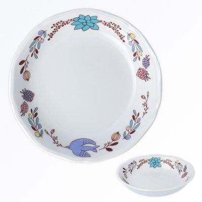 木の実と鳥ボウル[青]