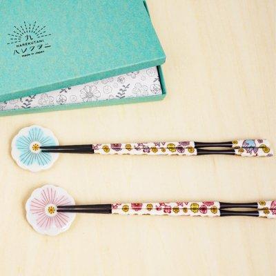 箸・箸置きセットペア[ピンク&ライトブルー]