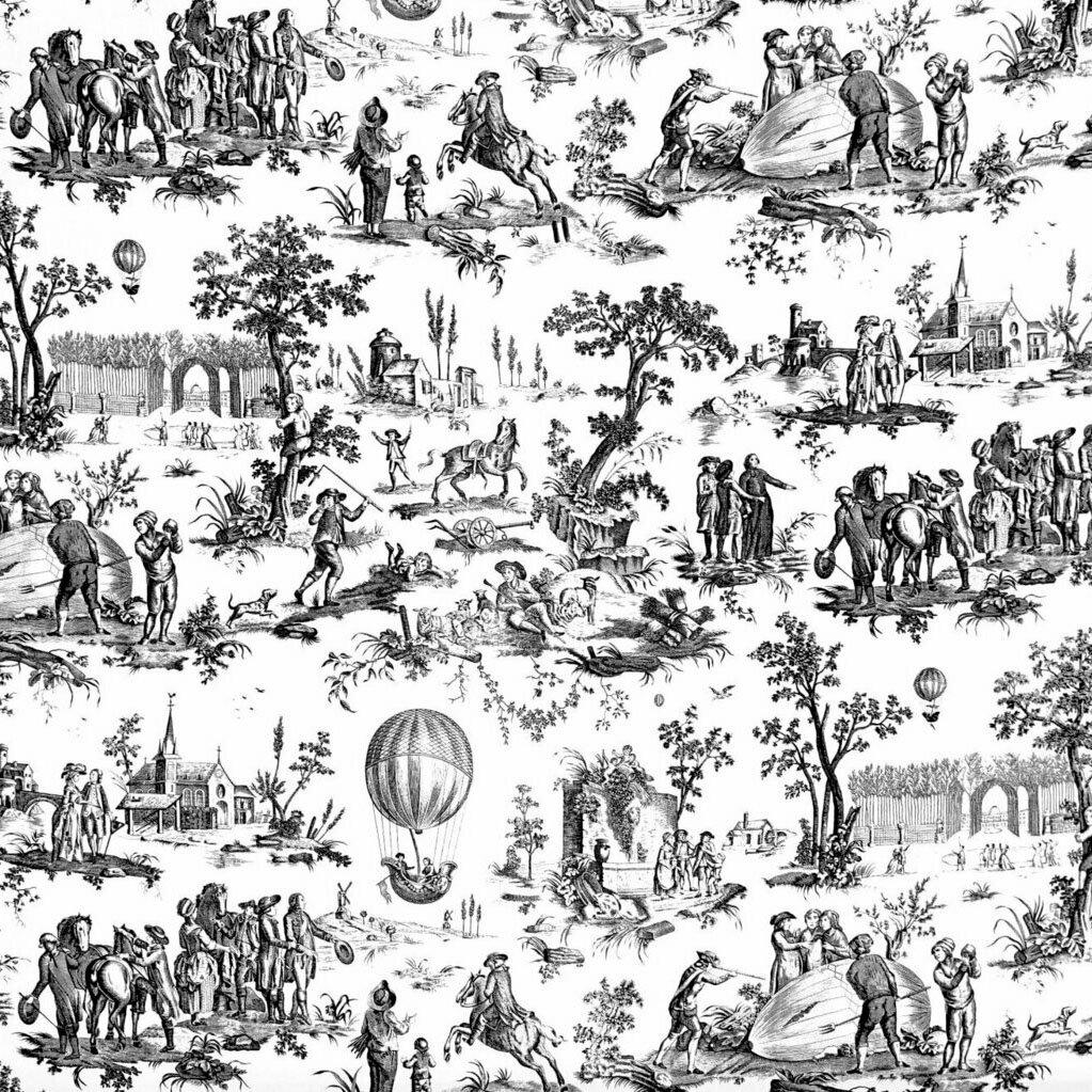 フランス生地 コットン100% トワル・ド・ジュイ 《ゴネスの気球》 ブラック