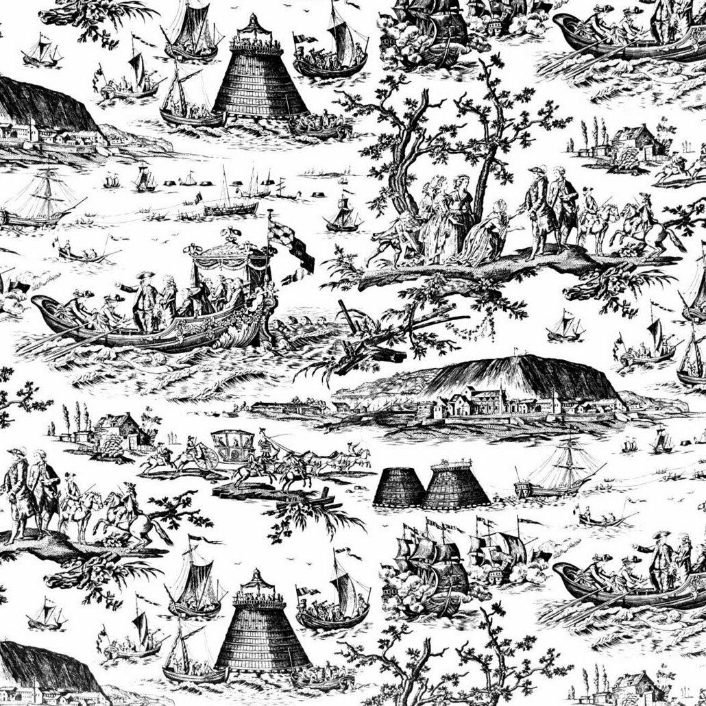 フランス生地 コットン100% トワル・ド・ジュイ 《海軍のお祝い》 ブラック