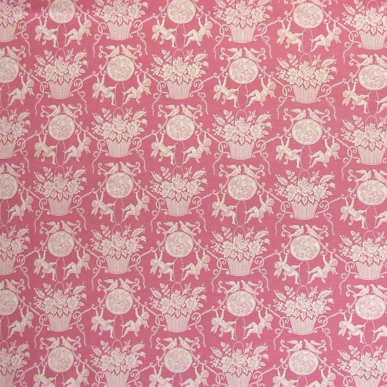 Charles Burger (シャール・ブルジェ) インテリアファブリック コットンリネンプリント 智天使 ピンク - 1423-002