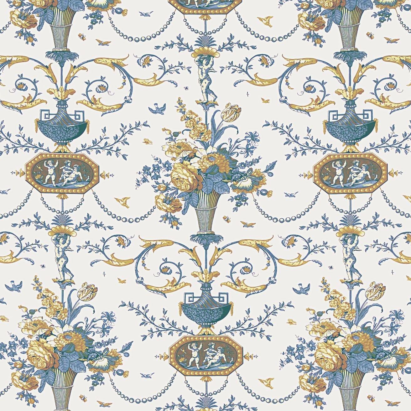 インテリアファブリック インテリアファブリック ルイ16世 フラワープリント カメオ ブルー - 129213644