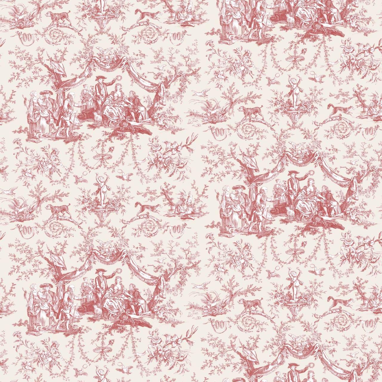 インテリアファブリック インテリアファブリック コットントワルドジュイプリント バラ冠を受ける少女 レッド - 129215600