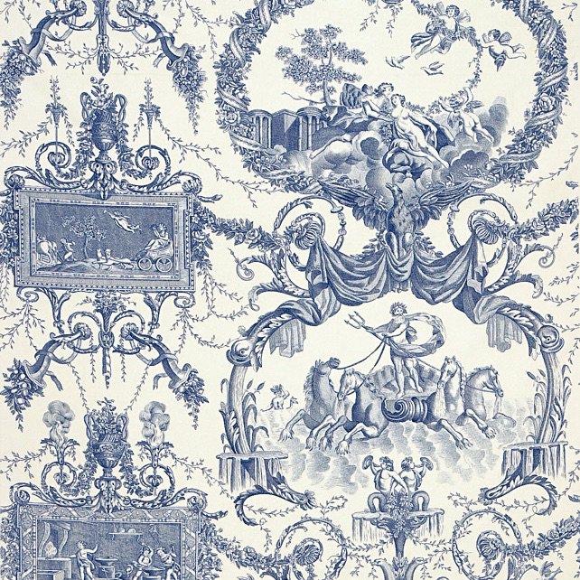 フランス生地 コットン100% トワル・ド・ジュイ 《ネプトゥーヌス》 ブルー