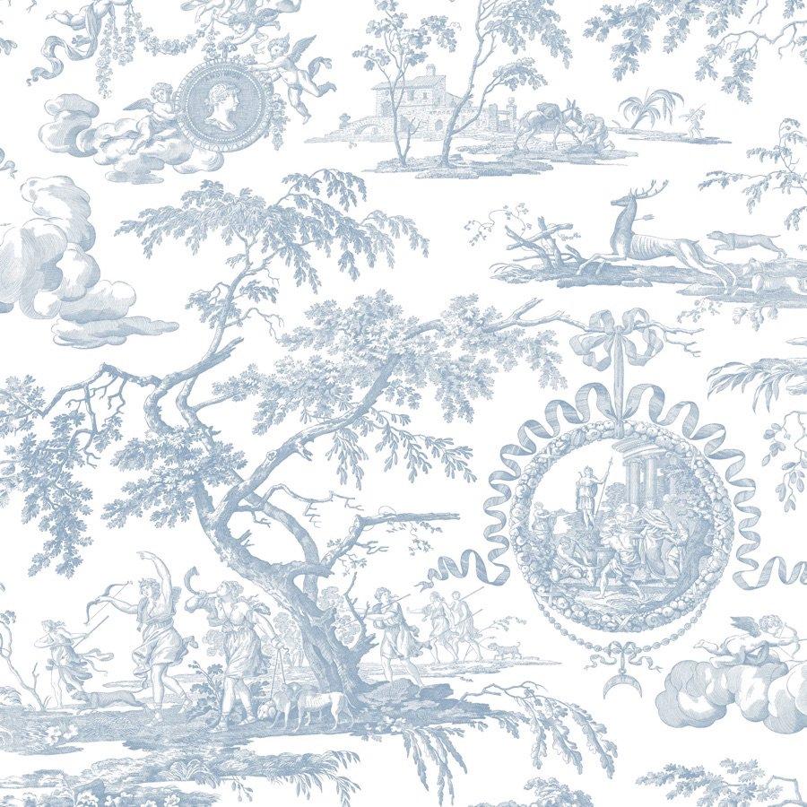 フランス生地 コットン100% トワル・ド・ジュイ 《ディアーナの狩猟》 ブルー