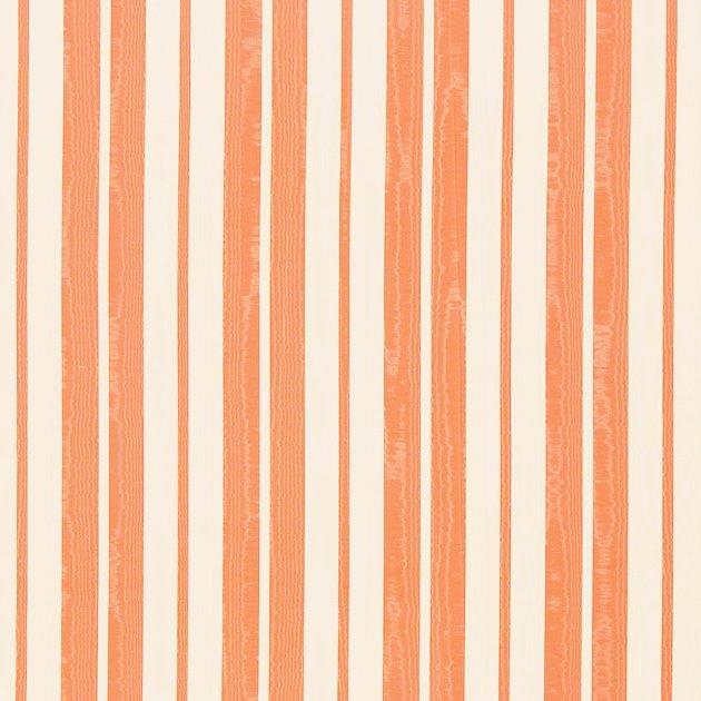 フランス生地 防炎加工 モアレ ストライププリント 《エレン》 クリーム & オレンジ