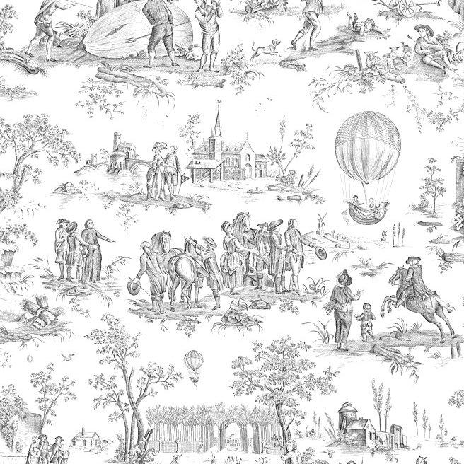 フランス生地 コットン100% トワル・ド・ジュイ 《ゴネスの気球》 ブラック & ホワイト