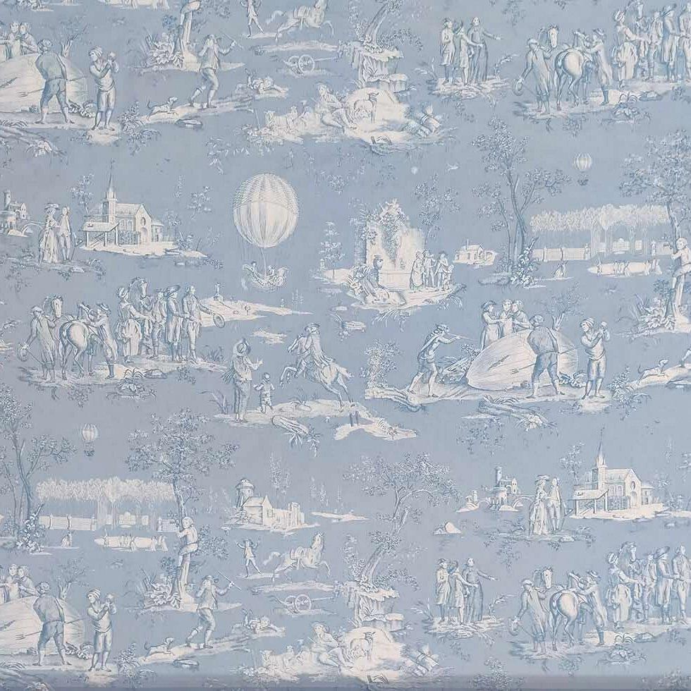 フランス生地 コットン100% トワル・ド・ジュイ 《ゴネスの気球》 ブルー & ホワイト