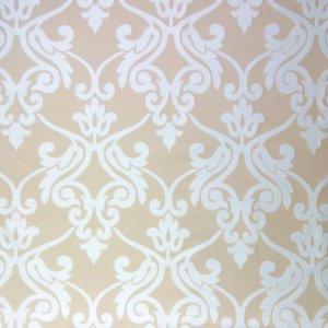 フランス生地 シルクコットン ダマスクジャカード 《ルカ》 ベージュ & ホワイト