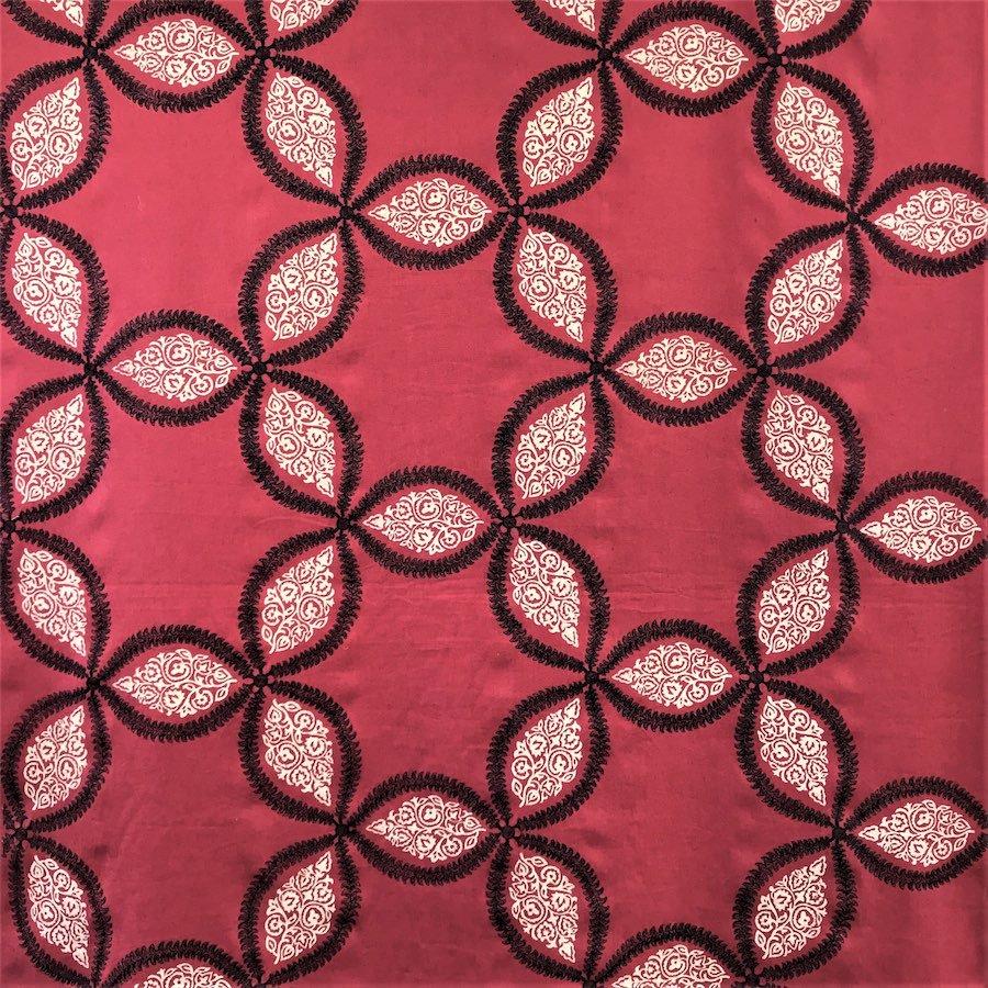 インテリアファブリック インテリアファブリック コットンリネン刺繍 スター レッド - 140457246