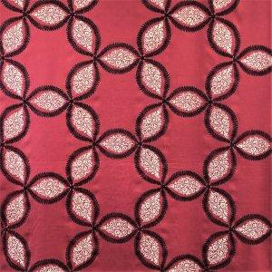 インテリアファブリック インテリアファブリック コットンリネン刺繍 スター レッド