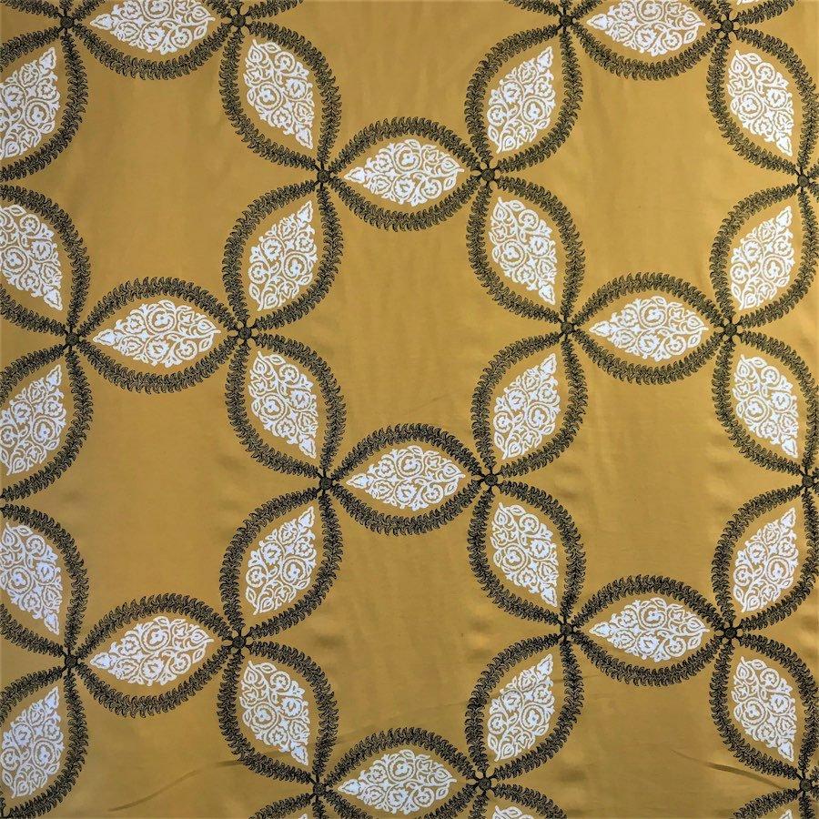 インテリアファブリック コットンリネン刺繍 スター イエロー