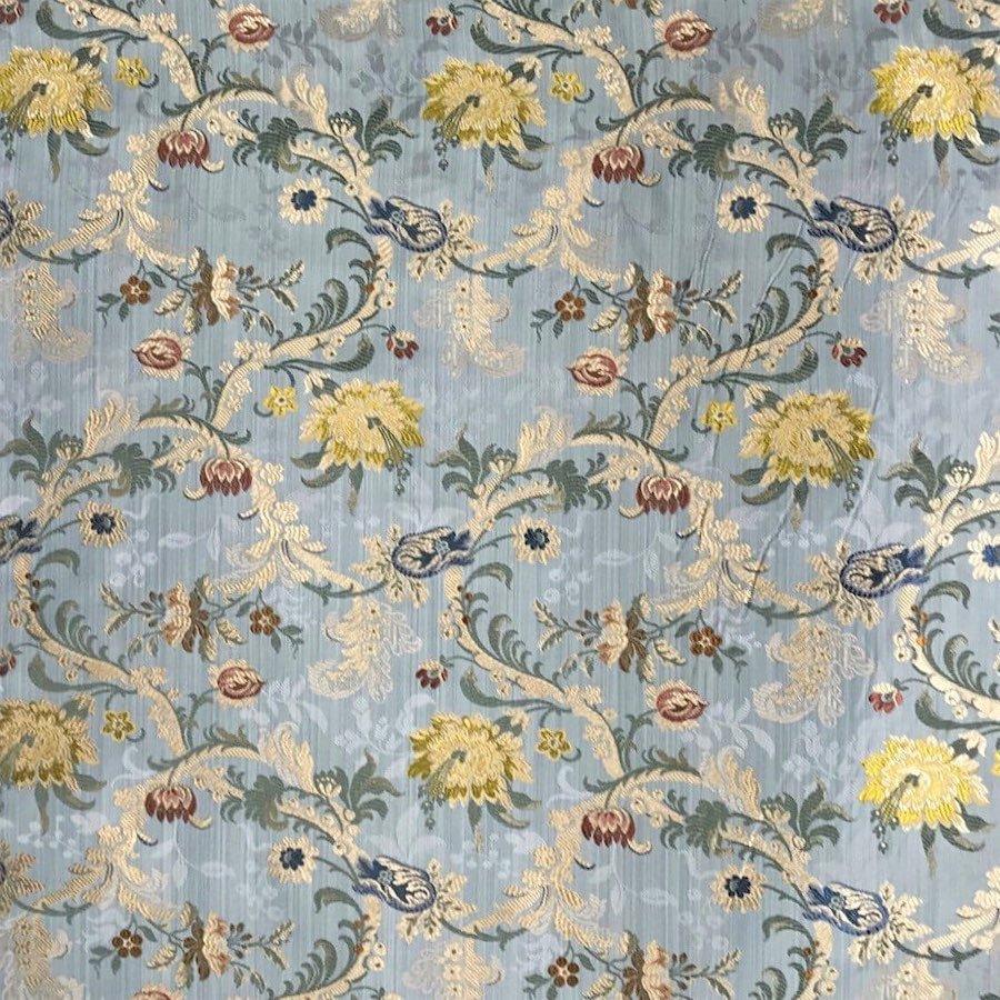インテリアファブリック ルイ15世 フラワーシルクジャカード ポンパドゥール ブルー