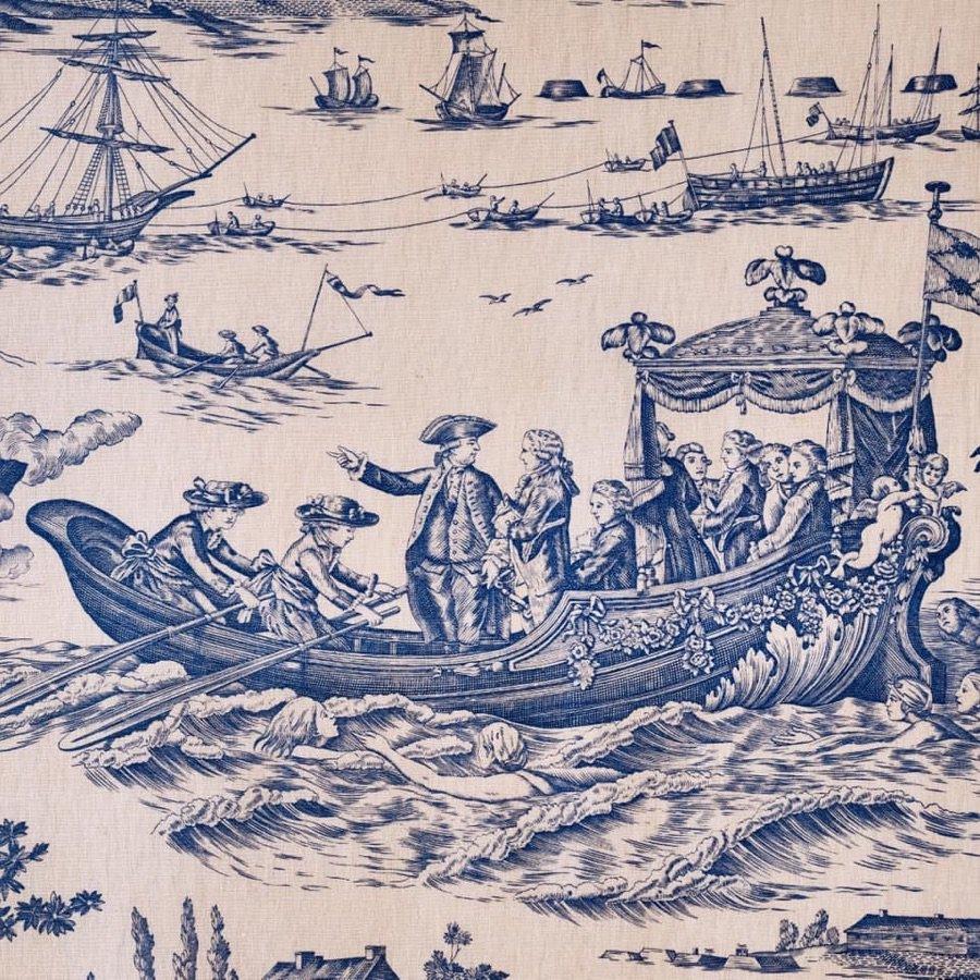 インテリアファブリック インテリアファブリック コットントワルドジュイプリント 海軍のお祝い ブルー - 148817252