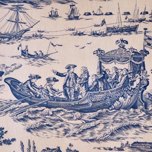 インテリアファブリック インテリアファブリック コットントワルドジュイプリント 海軍のお祝い ブルー