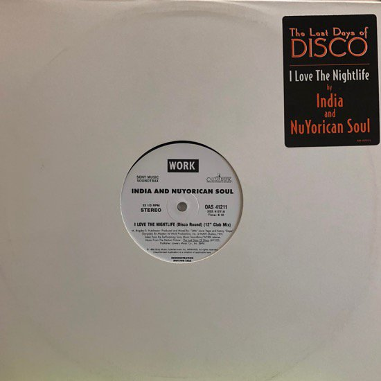 INDIA AND NUYORICAN SOUL / I LOVE THE NIGHTLIFE (DISCO ROUND) (PROMO)