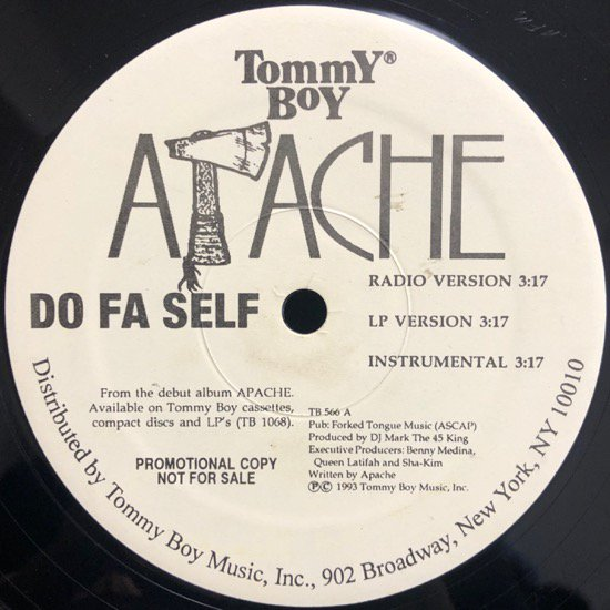 APACHE / DO FA SELF b/w HEY GIRL (PROMO)