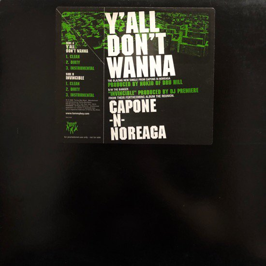 CAPONE-N-NOREAGA / Y'ALL DON'T WANNA / INVINCIBLE (US ORIGINAL PROMO ONLY )
