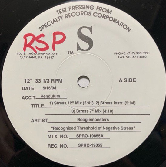 BOOGIEMONSTERS / RECOGNIZED THRESHOLDS OF NEGATIVE STRESS (TEST PRESSING)