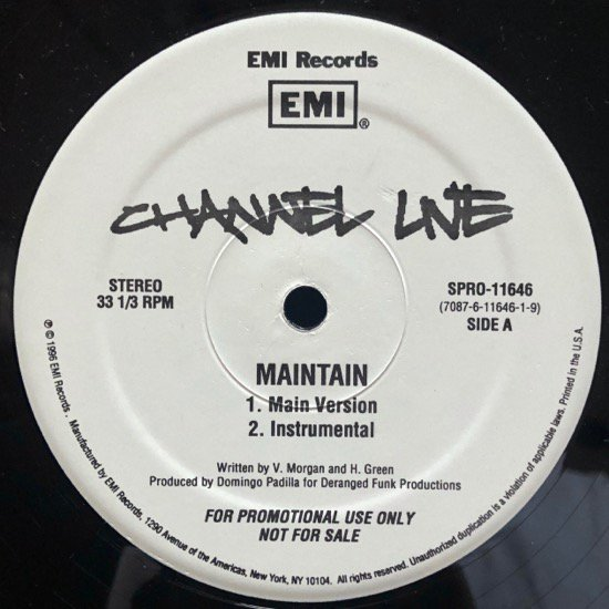 CHANNEL LIVE / MAINTAIN ( US PROMO ONLY)