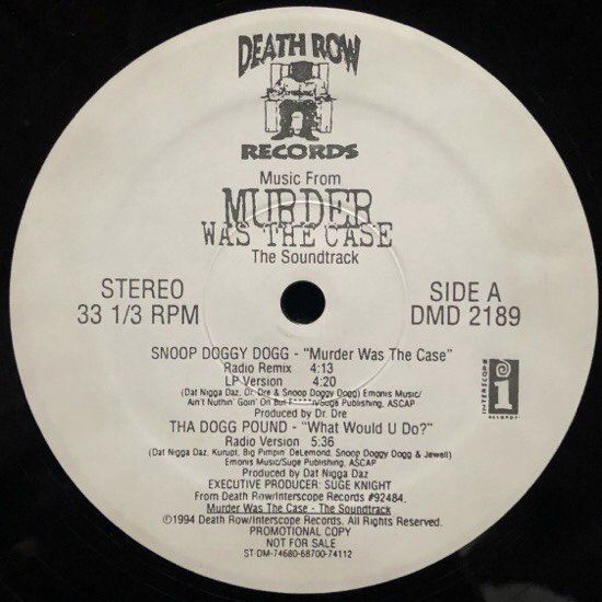 VARIOUS / MUSIC FROM MURDER WAS THE CASE (THE SOUNDTRACK) (PROMO)