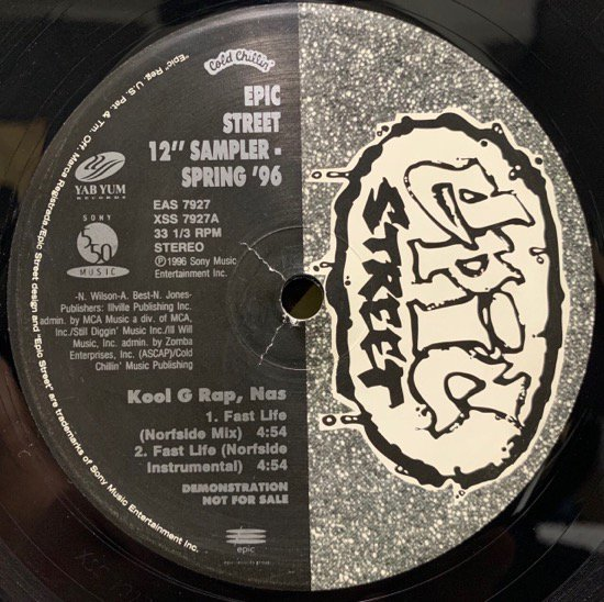 KOOL G RAP & NAS , MC EIHT / FAST LIFE (NORFSIDE MIX) b/w THUGGIN' IT UP (REMIX) US Original Promo