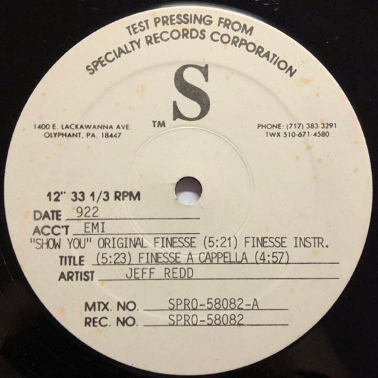 JEFF REDD / SHOW YOU (Lord Finesse Remix ) (TEST PRESSING)