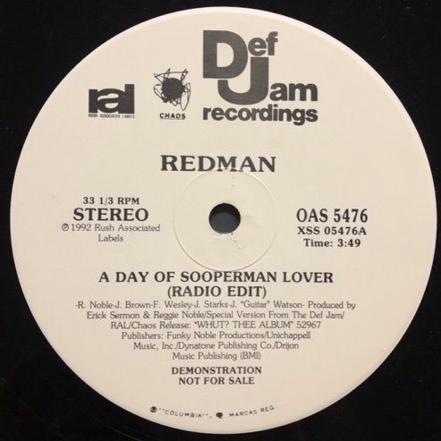 <img class='new_mark_img1' src='//img.shop-pro.jp/img/new/icons1.gif' style='border:none;display:inline;margin:0px;padding:0px;width:auto;' />REDMAN / A DAY OF SOOPERMAN LOVER (PROMO)