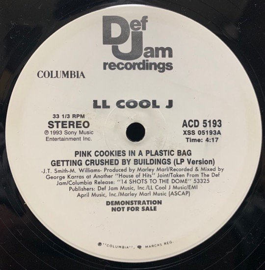 LL COOL J / PINK COOKIES IN A PLASTIC BAG GETTING CRUSHED BY BUILDINGS b/w FUNKADELIC RELIC (PROMO)