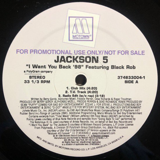 <img class='new_mark_img1' src='//img.shop-pro.jp/img/new/icons1.gif' style='border:none;display:inline;margin:0px;padding:0px;width:auto;' />JACKSON 5 FEATURING BLACK ROB / I WANT YOU BACK '98 (PROMO)