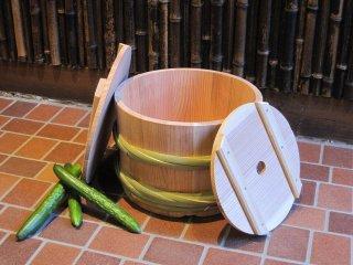 天然さわらの漬物樽(5升)漬物桶 竹タガ