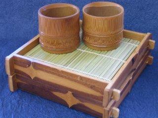 竹製そばペアセット(スス底板付)【お買得】