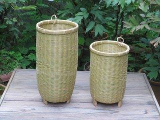竹製磨き笛かご・バチかご2個セット(足付)祭り・お囃子【お得】