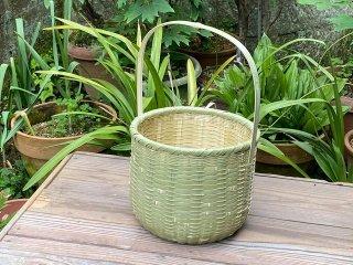 竹製手付き篭(大)湯かご(深)菊底編